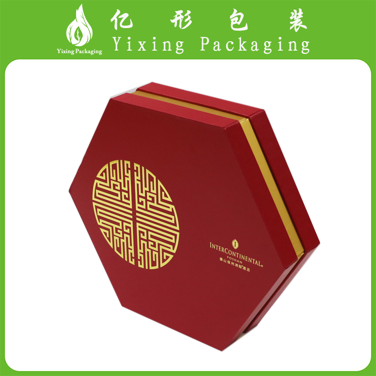 China supplier low cost unusual gold hot stamping for polygon red paper gift box