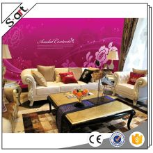 China manufacturer attractive purple wall 3d paper designs flowers murals