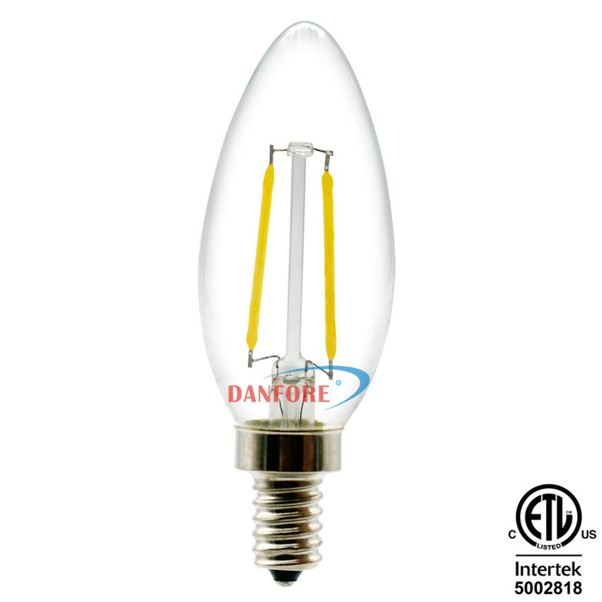 China facotry direct 2W C35 B11 filament candle light E14 E12 base candelabra led bulb