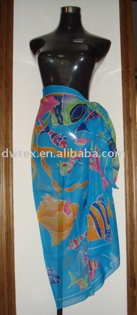 100%silk/ polyester Beach pareo or sarong