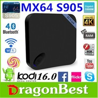 New modle and beautiful Amlogic S905 Quad core tv box 5.1 lollipop s905 2G/8G dual wifi MX64