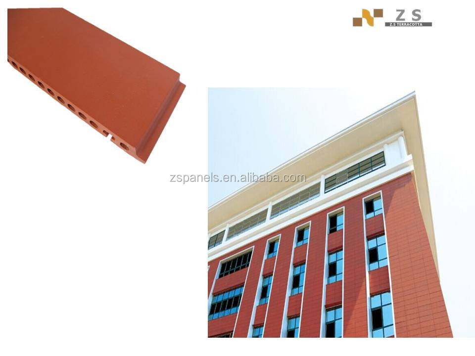 Waved fired terracotta brick wall plate tiles, curtain terracotta wall tiles, terracotta fasade panel for exterior