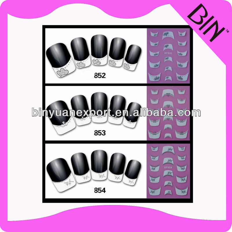 3d flower acrylic nail sticker french