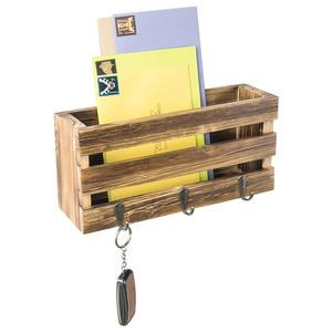 Crate-Style Wall Mounted Mail Sorter with 3 Key Ring Hooks