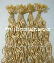 Blonde indian remy hair U-tip keratin curl hair extension