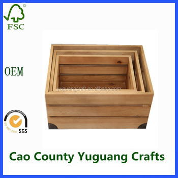 Custom logo wooden fruit crates antique small wooden crate for packing