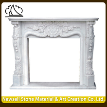 New Design Modern Beige Travertine Polished Stone Fireplace Designs