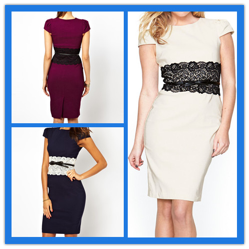 Cap sleeve Lace Belt Simple Pictures Formal Dresses Women