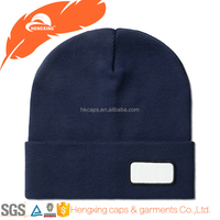 Custom 100% Cotton Navy Blue Beanie Hat With Embroidered Logo