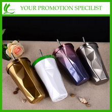 colorful diamond Stainless steel Coffee Cup Straw cup Sports Cup Thermos mug with straw