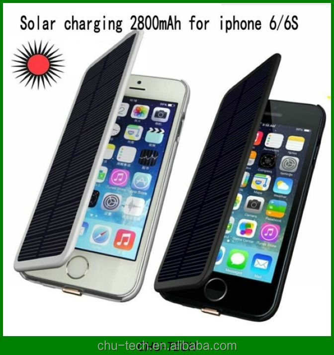 2800mAh Solar Charging Backup Battery Case External Charger Portable Battery Cover Power Bank For Apple iPhone 6 6S