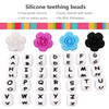 Silicone Wooden Teething Hexagon flower lentil abacus letter DIY silicone beads