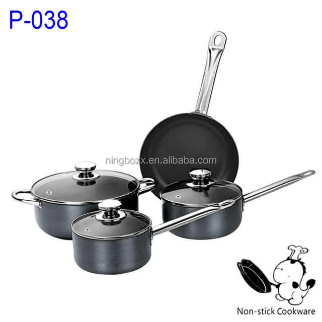 hot tv products pressed aluminum nonstick cookware set sauce pot casserole with stainless steel handle