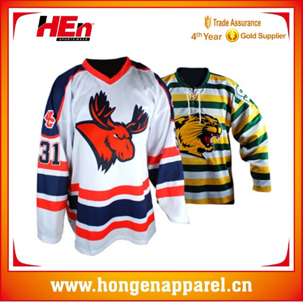 Hongen apparel Sublimated Ice hockey tops and shorts free design custom hockey jerseys/shirts/socks 100% polyester ice hockey