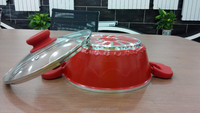 hot sales with high quality die casting aluminum red ceramic casserole/soup pan