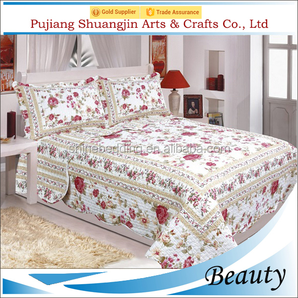 High quality luxury allover printed polyester fiber bed sheet patchwork quilt