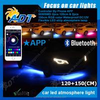 4pcs 7 Color SMD 5050 Strips Neon LED Underbody Under Car Light Kit+Remote+APP Activate effect