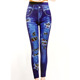 Women printed slim cotton jeggings ladies fake jeans trousers leggings