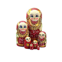FQ brand Set of 7 Semenov Traditional Hand Painted Wooden wholesale custom russian nesting dolls