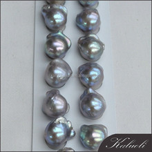 Large baroque pearls 13-15mm grey AAA wholesale in pair
