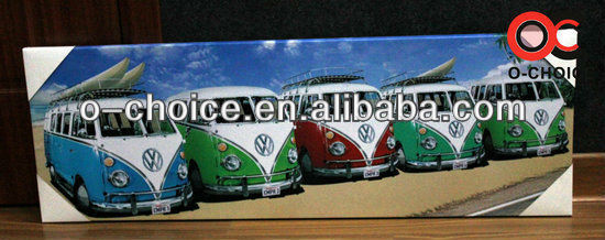 WK-58 Most Popular Wall Decoration Framed Group Canvas Car Painting