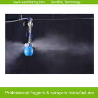 Air powered four way low pressure dry fog misting system