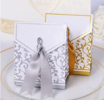 Luxury silvery and gold stamp paper gift box wedding party favor boxes
