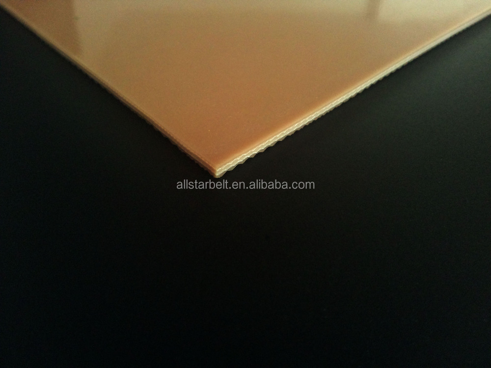 High quality 3.0mm Brown Top Glossy Bottom Diamond Pattern PVC Conveyor Belt