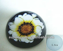 5.8cm printed Flower diamond cut glass paperweight