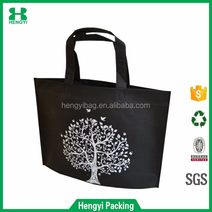 Wholesale eco friendly tree printed black color non woven tote shopping bag for gift packing