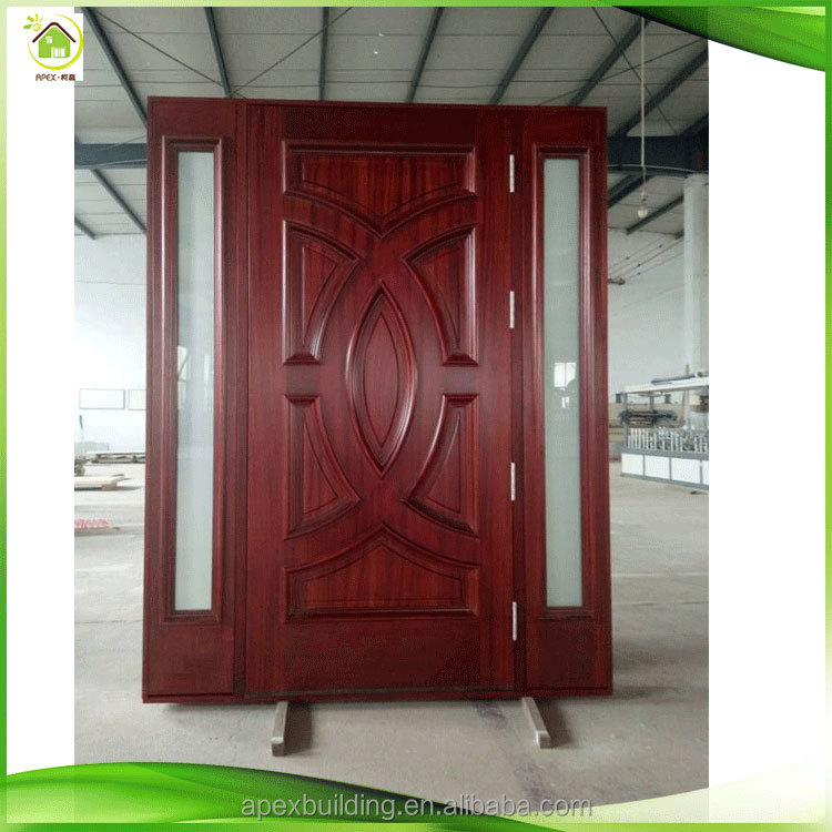 Lowes exterior pre-hung mahogany solid wood doors with two sidelights