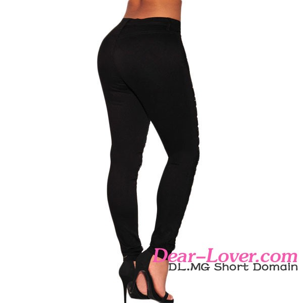 New Style Fashion Black Destroyed High-waist Skinny Girls Jeans Brand Name