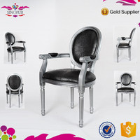 Hot selling cheap Sinofur stacking used transparent silver wood louis chair with arms , dinning chair