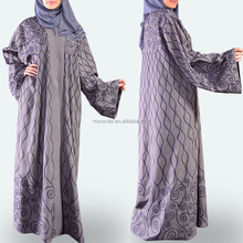 Fashion machine embroidery kaftan abaya with buttoned down front open abaya light grey maxi Islamic clothing