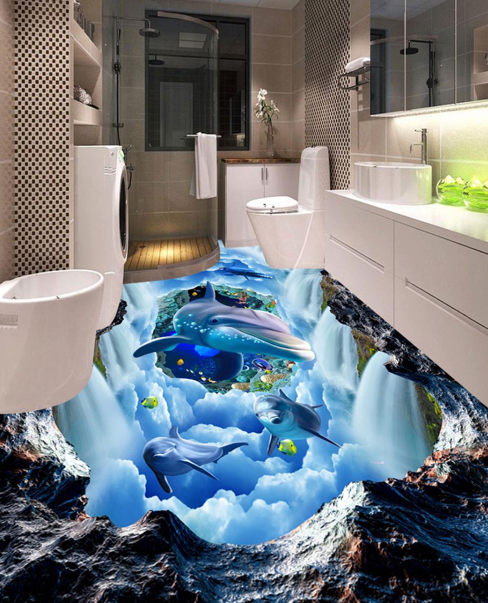 Modern 3D Pattern Floor Tiles Sticker Hotel Living Room Bathroom ...