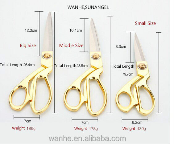 Gold-plated stainless steel tailor scissors civil office golden wedding ceremony scissors cut all steel clothing
