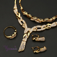 dubai new design arabic bridal copper cz 18k gold plated jewelry sets