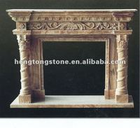 Yellow Marble Floral Design Fireplace Surround With Corinthian Order Column