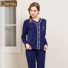 Qianxiu Autumn Girl Lady Winter Thermal Long Sleeve Two Piece Cotton Knitted Night Suit