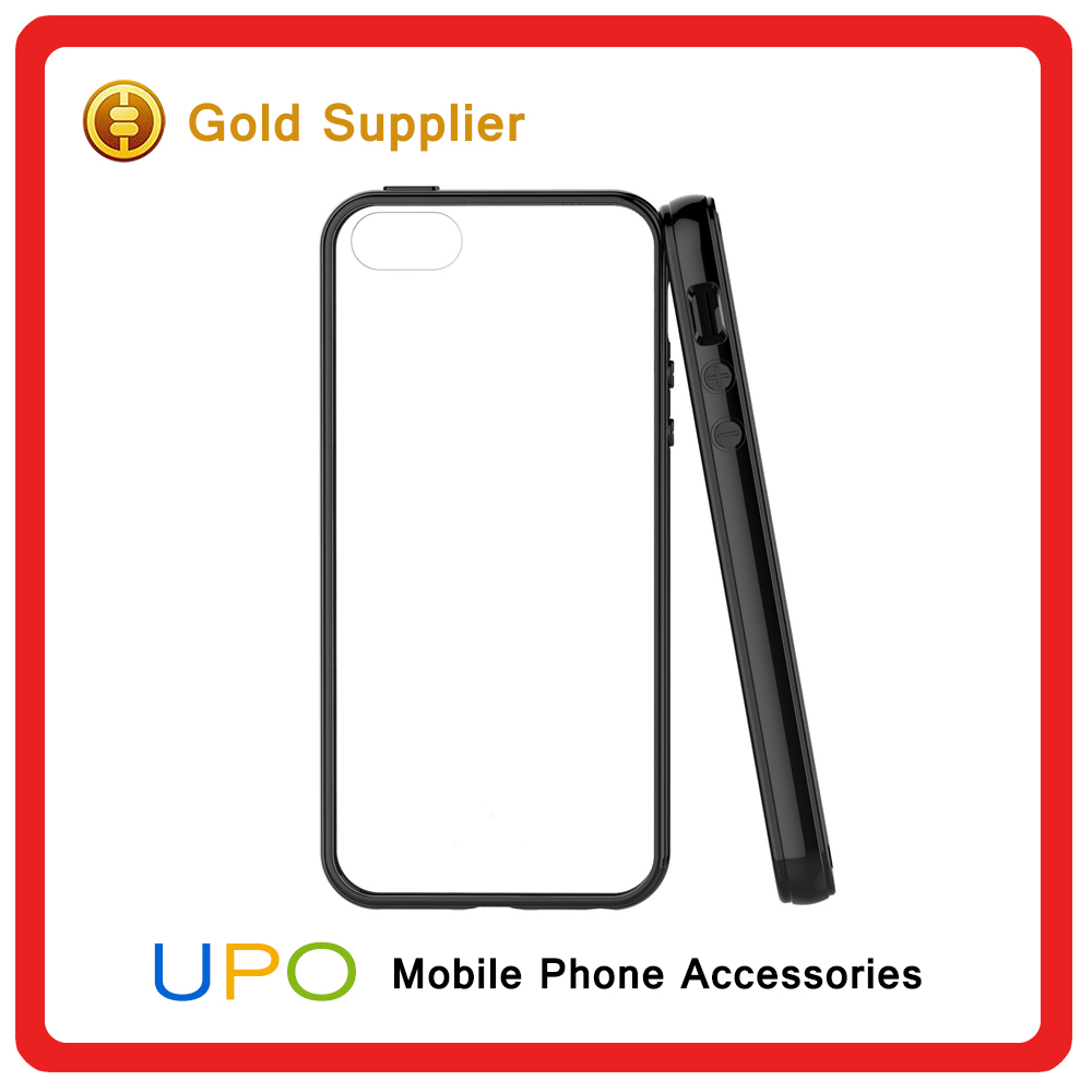 [UPO] New Custom Protective PC Bumper Clear TPU Back Cover Phone Case For iPhone 5