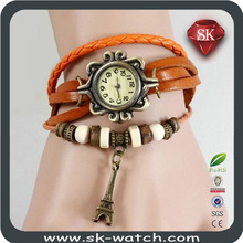 Original High Quality Women Genuine Leather Vintage Watches,Bracelet Wristwatches butterfly/Eiffel Tower Pendant