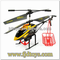 3ch long range rc helicopter flying with basket
