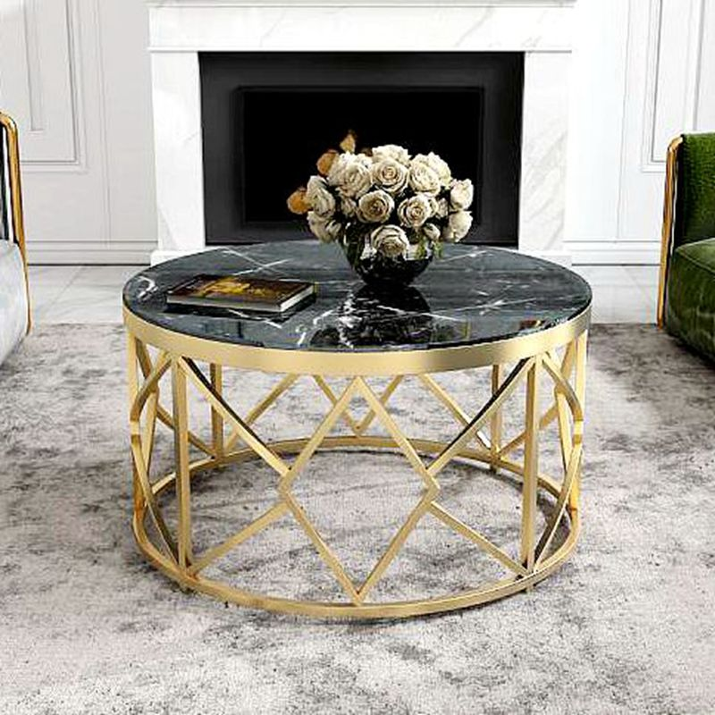 Modern Accent Faux Marble Console <strong>Table</strong>, Black Metal Frame, for Hallway Entryway Living room