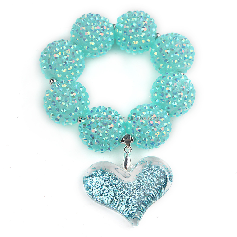 Bubblegum Accessories Little Girls' Aqua Crystal Shamballa Bracelet Shining Powder Jelly Heart Pendant Bracelet Birthday KBC0003