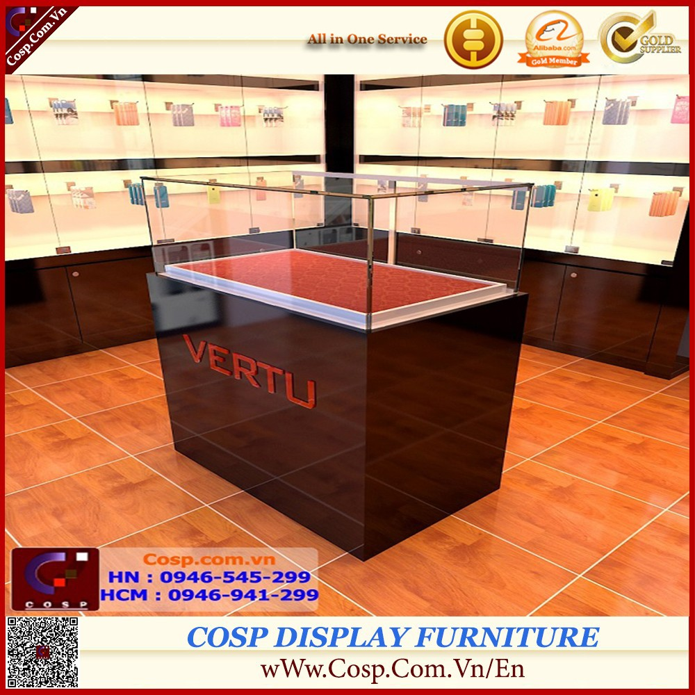 Luxury customized lockable mobile phone display showcase/cellphone display cabinet