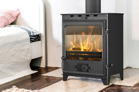 Freestanding steel stove for wood, coal and briquette ACKERMAN W7 5 kW with cast iron door
