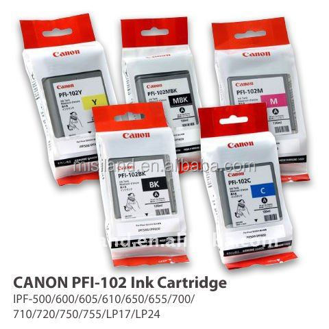 100% original Canon PFI-<strong>102</strong> ink tank set130ml for CANON iPF-500 600 605 610 650 655 700 710 720 750 755 LP17 LP24