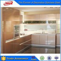 Interior Decorative Kitchen Design Cabinets Used Stainless Steel Sheet