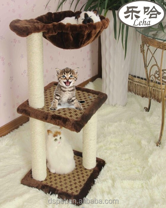 Dspet Simple cat tree cat mobile tree house sisal posts perch soft plush hammock