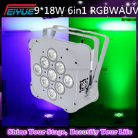Hi-Quality 9*18W 6in1 RGBWA+UV Battery Wireless Flat Led Par Lights DMX 512 Battery Slim Led Par Lights Hi-Quality Par
